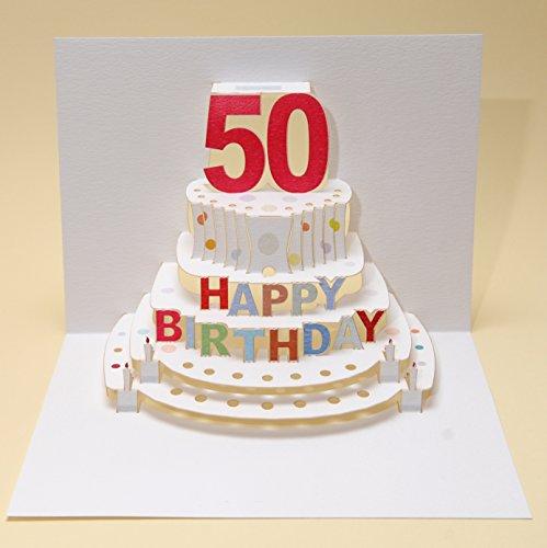 Forever Handmade Cards Pop Ups POP47-50th Birthday - Laser Cut Pop Up Card