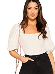 Recommend to choose a size up Features: Three Quarter Length Sleeve, Solid Color Elegant and cute, easily match with your pants,skirt,jeans,ect. Perfect for Cocktail, Going out, or Daily Wear Stretchy fabric,comfy and stylish