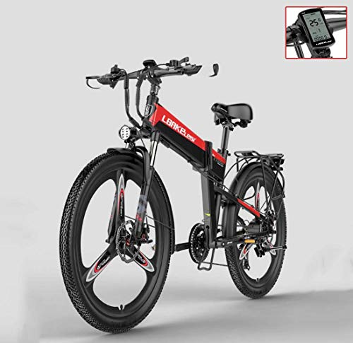 AISHFP Adult 26 Inch Electric Mountain Bike, 48V Lithium Battery Electric Bicycle, with Anti-Theft Alarm/Fixed-Speed cruise/5-gear Assist,A,12.8AH