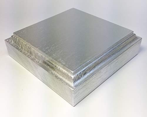 HEWA Holzsockel Sockel Standplatte Grundplatte Quadratisch massiv Esche Silber, Größe wählbar (240 mm)