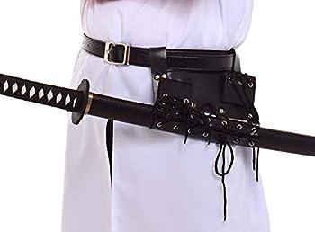 BLESSUME Swords Black Frog Holster with Belt Medieval Rapier Cross Lacing Holder Belt  Black