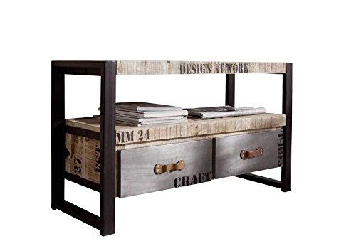 MASSIVMOEBEL24.DE Massivmöbel Bedruckt vollmassiv Industrial-Stil TV-Board Mango Holz Massivholz Eisen Factory #129