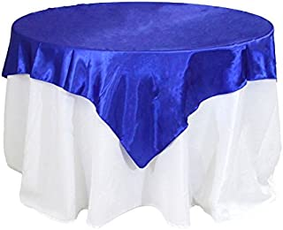 Koyal Wholesale Square Satin Overlay Table Cover, 60 by 60-Inch, Royal Blue
