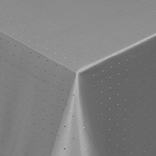 MODERNO Tischdecke Damast Stoff Tischtuch Bügelarm Punkte mit Saum, eckig 80x80 cm in Grau - mit umgenähtem Rand und Öko Tex Zertifikat - Premium Qualität - Eckig Oval Rund Größe und Farbe wählbar