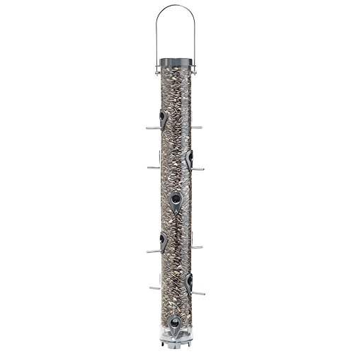 Droll Yankees Classic Sunflower or Mixed Seed Bird Feeder, 30 Inches, 12 Ports, Silver