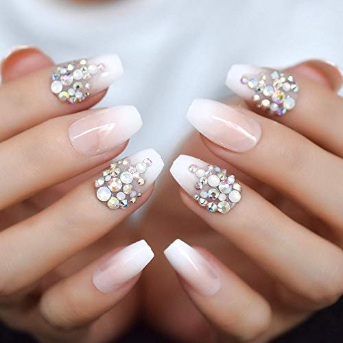 CLOAAE Rhinestone coffin nails medium nude false nails 3D crystal design decorative nails handmade 24 pieces