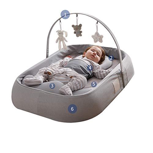 Krippe, transportables Bett im Bett, neugeborenes Babybett, multifunktionale bionisches Bett, Babymobile Bett Anti-Druck (Color : Gray, Size : Luxury)