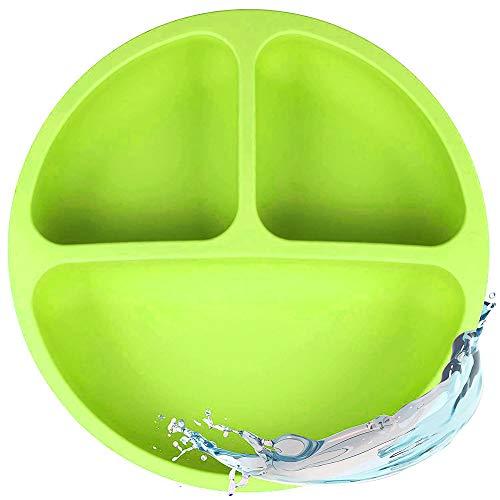 2Pcs Kinderteller Silikon mit Saugnapf for Baby Toddlers and Children Portable Plate Baby Non-Slip Suitable for Hochstuhl