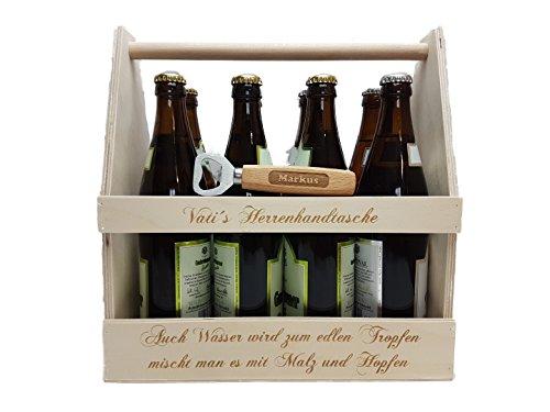 KF-Holz 8er Bierträger/Männerhandtasche mit Kapselheber + gratis Gravur
