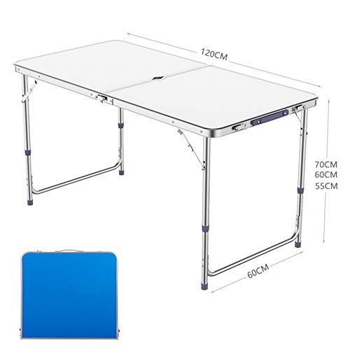 DSYYF Mesa de Camping portátil, Mesa de Camping Plegable de aleación de Aluminio Duradera Ajustable en Altura para Fiesta de Picnic de Barbacoa al Aire Libre, 120 cm,Blanco,2 stools
