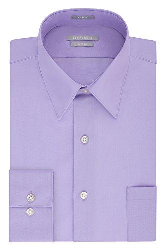 Van Heusen Men's Dress Shirt Fitted Poplin Solid, Lavender, 16.5' Neck 32'-33' Sleeve