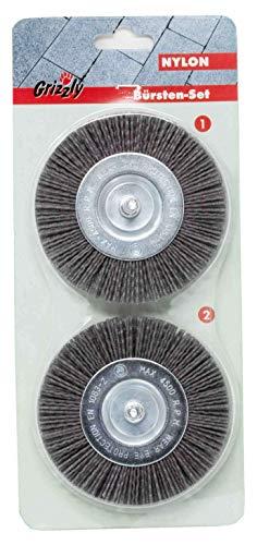 Preisvergleich Produktbild Grizzly Elektrische Fugenbürste Ersatzbürste Nylon 2er Set Fugenreiniger: Kunststoff Fugen Bürsten Set 2 Stück für Grizzly EFB 400 und EFB 401 geblistert