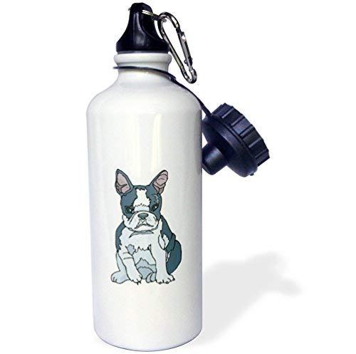ANGELA G Leuke en Knuffelige Canine Franse Bulldog Pup Sport Waterfles, 21 oz, Wit Roestvrij Staal Waterfles