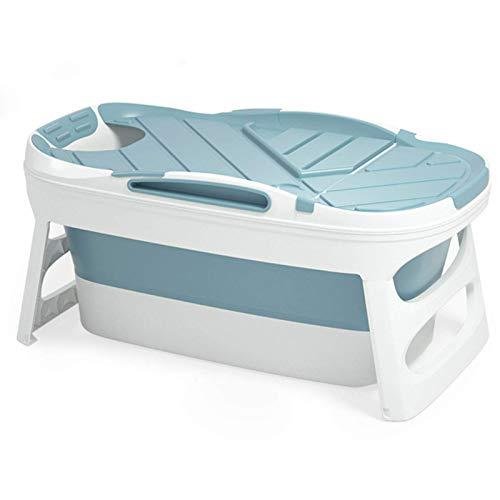 CHUTD Bañera termostática portátil para Artistas de Interior, bañera Plegable de plástico Grande, bañera Plegable portátil para Adultos con Tapa, Accesorios de baño, Azul