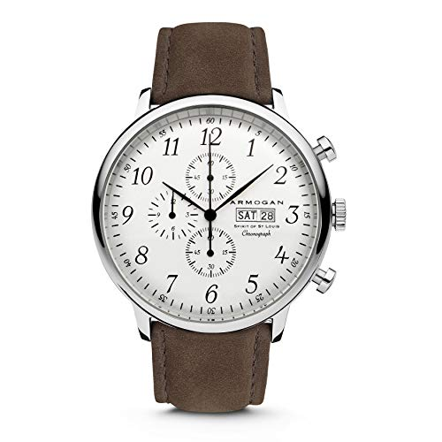 Armogan Spirit of St. Louis - White Chocolate - Men's Chronograph Watch Suede Leather Strap