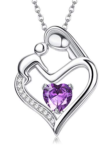 Milacolato Mother and Daughter Necklace Love Heart Women Necklace White Gold Plated 925 Sterling Silver Birthstone Pendant Necklaces New Mom Gifts for Women, Feb
