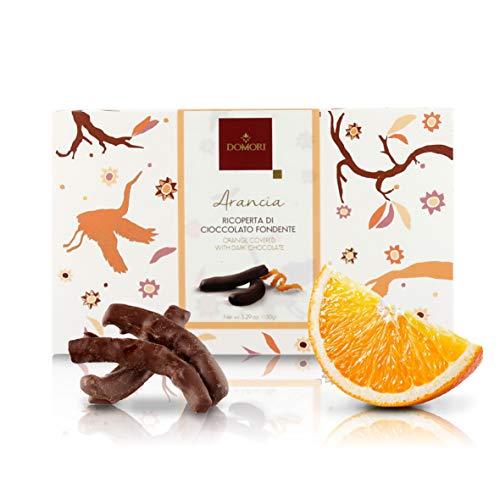 Domori Filetti di Arancia Ricoperti di Cioccolato Fondente Arriba 62%, 150 Grammi
