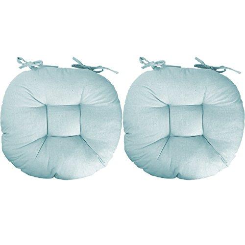 Mojawo - Set di 2 cuscini per sedia, cuscini per sedia, cuscini per sedia, colore azzurro, 100% poliestere, rotondi, 40 x 40 cm