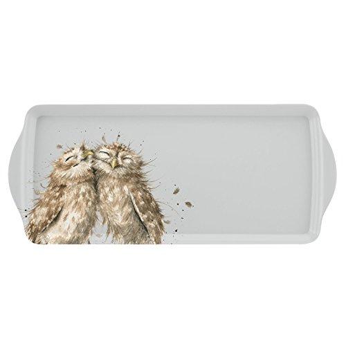 Portmeirion Home & Gifts Wrendale - Bandeja para sándwich (2 x 16,5 x 38,5 cm), diseño de búho, multicolor
