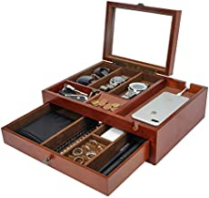 Homde Dresser Valet Organizer Wood Mens Storage Box with Large Smartphone Charging Station for Watches, Sunglasses, Jewelry and Accessories