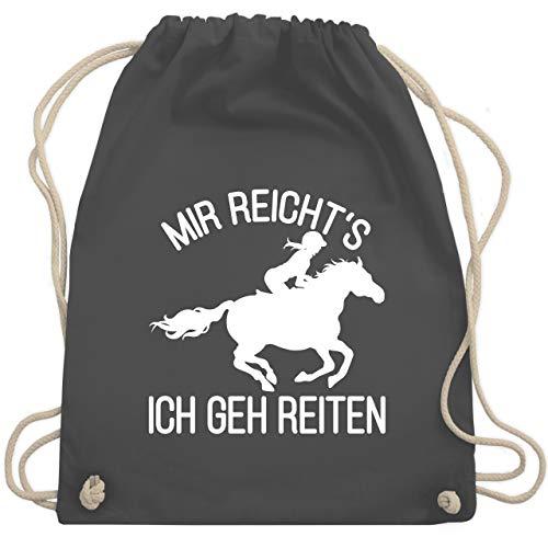 Shirtracer Pferde Geschenk und Reiten Zubehör - Mir reicht's ich geh reiten mit Pferd und Reiterin - weiß - Unisize - Dunkelgrau - Pferde Mädchen - WM110 - Turnbeutel und Stoffbeutel aus Baumwolle