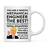 Andaz Press 11oz. Funny President Trump Coffee Mug Gag Gift, Mechanical Engineer, 1-Pack, Includes Gift Box, Christmas Birthday Graduation Novelty Drinking Cup Gift Ideas