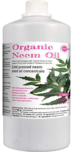Pure Organic Neem Oil 1 Litre (or Select 250ml) Cold Pressed Unrefined Virgin Concentrate 1000ml - Natural for Plants and Pets Horses Dogs Skin and Hair Care PINK SUN 1 L