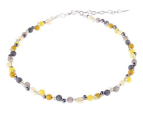 'delicada cadena'Johanna, material de mezcla de Polaris y perlas de vidrio en amarillo de y grises, hecha a mano de Adi Mode joyas en Berlín