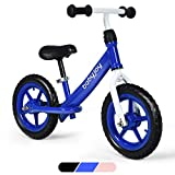 Baby Joy Lightweight Balance Bike, Kids No Pedal Training Bicycle w/ 12-Inch Wheels, Adjustable Seat Height & Inflation-Free EVA Tires, Toddler Push Bike for Children Ages 3, 4, 5, Blue