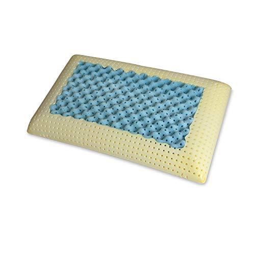 Sleepys Cuscino in Memory Foam Polar Gel, 74x42 Alto 13 cm saponetta Forato con Fodera in Jersey 100% Cotone - Guanciale Polar Gel Traspirante RINFRESCANTE