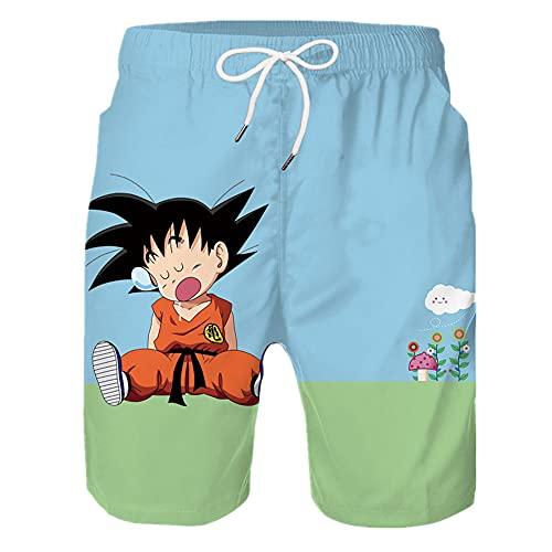 N\P Longzhu - Pantalones cortos de playa para hombre con estampado digital
