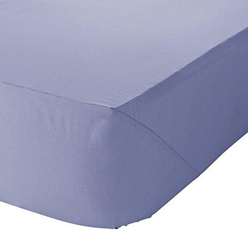 Linens Limited Drap-housse 1 personne en percale de polycoton 180 fils, bleuet, pour 90cm x 190cm