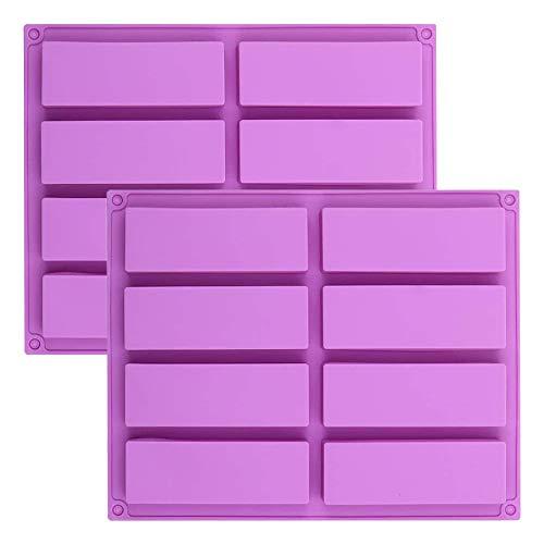 IWILCS 2 moldes de silicona rectangulares para barritas de cereales, caramelo, mantequilla de cacahuete, barritas de chocolate, chocolate y mantequilla