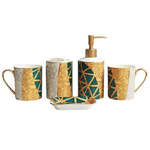 DLYDSSZZ Conjunto de cerámica de baño de Cinco Piezas, Conjunto de Taza de Lavado de China, Taza de Enjuague bucal * 2 / Taza de Cepillo de Dientes * 1, Botella de loción * 1, Mariposa de jabón * 1