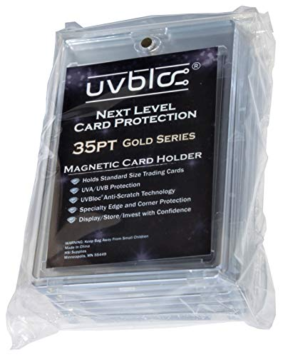 UVBloc 35pt Magnetic Baseball Card Sleeves (5 Count) Protectors Holder Cases for Trading Sports Cards
