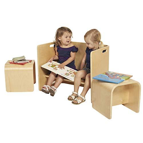 ECR4Kids Natural Bentwood Multipurpose Kids Wooden Chair Set, 3-Piece TABLE,