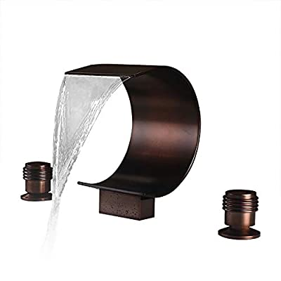 JinYuZe Modern Waterfall Bathtub Faucet 3-hole Widespread Roman Tub Filler in Oil Rubbed Bronze