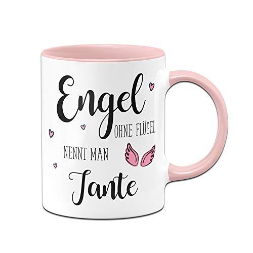 Tassenbrennerei Tasse mit Spruch Engel ohne Flügel nennt Man Tante - Geschenk (Rosa)