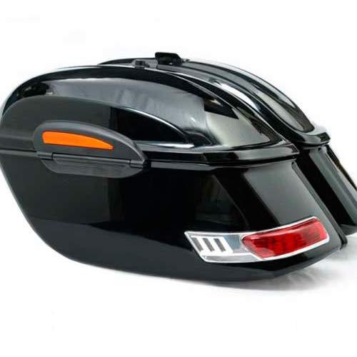 Vramack Seven Brand - Alforjas Negro Brillo Rigidas para Motos Custom con Luces Apertura Superior, Modelo Fast
