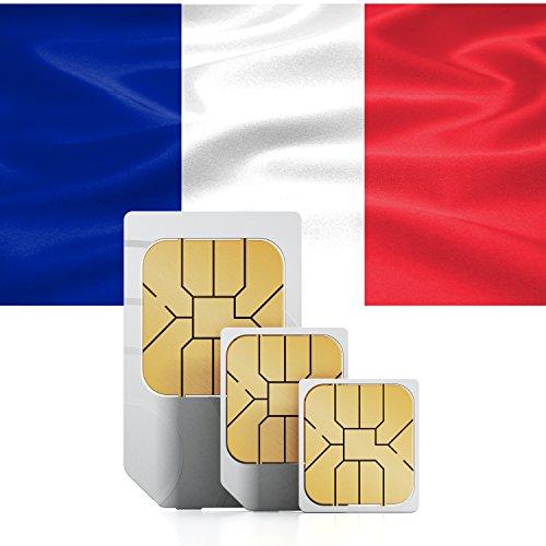 travSIM Frankreich Prepaid Daten SIM Karte + 2GB für 30 Tage - Standard,Micro & Nano SIM