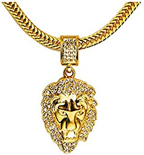 18K Gold plated Hip Hop Punk style Rock Lion head Pendant Necklace mens Jewelry