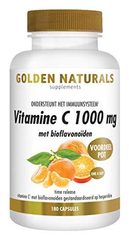Golden Naturals Vitamine C 1000 mg met bioflavonoïden (180 veganistische tabletten)
