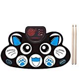 Electronic Drum Set, Portable Roll Up Drum Pad with Built-in Speaker and Rechargeable