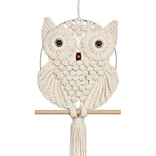 Oakeer Tapeçaria de pendurar na parede com macramê de coruja feita à mão de algodão, apanhador de sonhos, decoração de arte para sala de estar, quarto, escritório, galeria (bege, 30 x 87 cm)
