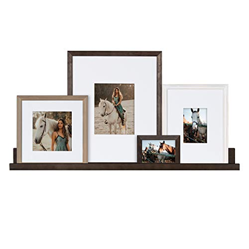 Kate and Laurel Bordeaux Gallery Wall Frame and Shelf Kit, Set of 5, Multiple Finishes, Assorted Size Wooden Frames and Display Shelf