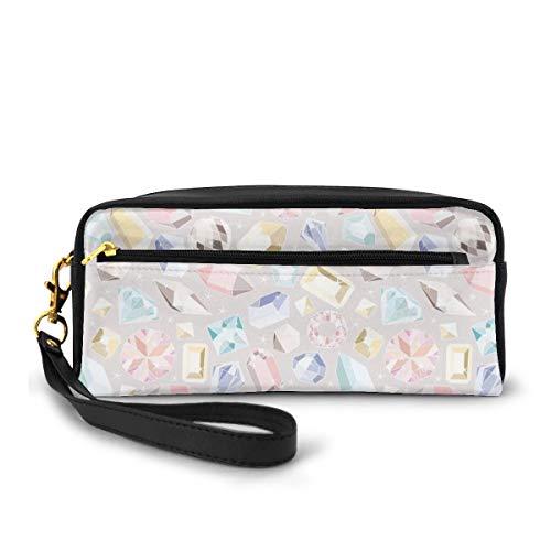 Pencil Case Pen Bag Pouch Stationary,Colorful Diamond Gemstone Figures Rich Feminine Women Fashion Theme Digital Print,Small Makeup Bag Coin Purse