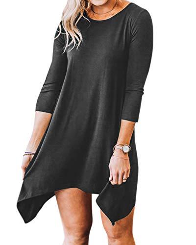 YOINS Bluse Damen Herbst Elegant Langes Shirt Rundhals Lässige Blusen Kurz Tunika Kleid Partykleid Top Dunkelgrau EU46
