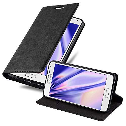 Cadorabo Hülle für Samsung Galaxy Alpha - Hülle in Nacht SCHWARZ – Handyhülle mit Magnetverschluss, Standfunktion & Kartenfach - Hülle Cover Schutzhülle Etui Tasche Book Klapp Style