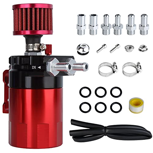 Universal Car Oil Catch Can Kit Polish Baffled Automotive Reservoir Tank 300ml with Breather Aluminum Compact Dual Cylinder