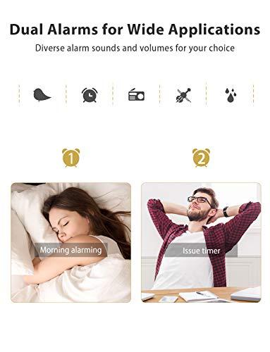 Mpow Reveil Projecteur, Radio Réveil Projection Plafond, Afficheur LED de 5 Pouces, Téléphone de charge USB, 2 Modes d'Alarme et 4 Sons D'alarme, 6 Niveaux de Luminosité de l'écran, Snooze